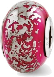 Sterling Silver Reflections Dark Pink w/Platinum Foil Ceramic Bead