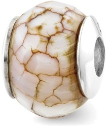 Sterling Silver Reflections Cracked Agate w/Shell Stone Bead