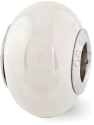 Sterling Silver Reflections White Ceramic Bead