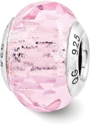 Sterling Silver Reflection Pink Faceted Glass Italian Bead