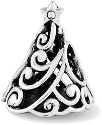 Sterling Silver Reflections Swarovski Filigree Christmas Tree Bead