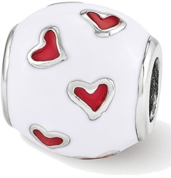 Sterling Silver Reflections Red & White Enamel Heart Bead