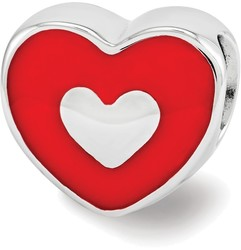 Sterling Silver Reflections Red Enamel LOVE & Heart Bead
