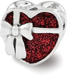 Sterling Silver Reflections Red Enameled Heart Bead