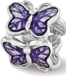 Sterling Silver Reflections Purple Enameled Butterfly Bead