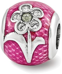 Sterling Silver Reflections Pink Enameled w/ Swarovski Flower Bead