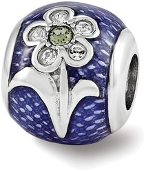 Sterling Silver Reflections Purple Enameled Swarovski Flower Bead