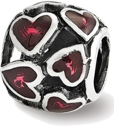 Sterling Silver Reflections Red Enamel Filigree Heart Bead