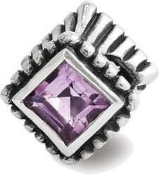 Sterling Silver Reflections Amethyst Bead