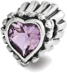 Sterling Silver Reflections Amethyst Heart Bead