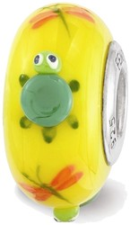 Sterling Silver Reflections Yellow Hand Painted Turtle Glass Bead