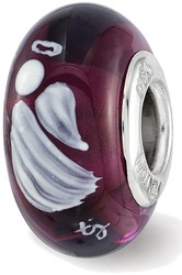 Sterling Silver Reflections Purple Miracles Angel Fenton Glass Bead