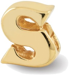 Sterling Silver Gold-plated Reflections Letter S Bead