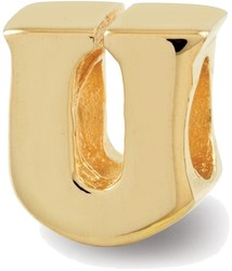 Sterling Silver Gold-plated Reflections Letter U Bead