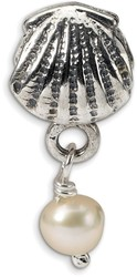Sterling Silver Reflections Shell FW Cultured Pearl Dangle Bead