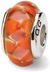 Sterling Silver Reflections Orange Hand-blown Glass Bead QRS616