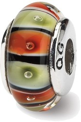 Sterling Silver Reflections Orange, Red/Lt Green Glass Bead