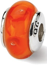 Sterling Silver Reflections Kids Orange Hand-blown Glass Bead QRS835