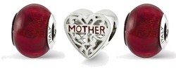 Sterling Silver Reflections Red Hot Mom Boxed Bead Set