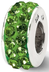 Sterling Silver Reflections Green Double Row Swarovski Crystal Bead QRS2017