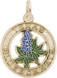 Texas Bluebonnets Charm (Choose Metal) by Rembrandt