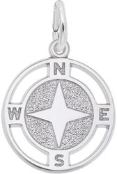 Nautical Compass Charm (Choose Metal) by Rembrandt