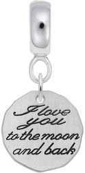 Sterling Silver Love You To The Moon CharmDrop Bead Charm by Rembrandt