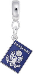 Sterling Silver USA Passport CharmDrop Bead Charm by Rembrandt