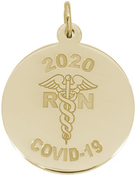 COVID-19 RN Nurse Caduceus Charm (Choose Metal) by Rembrandt