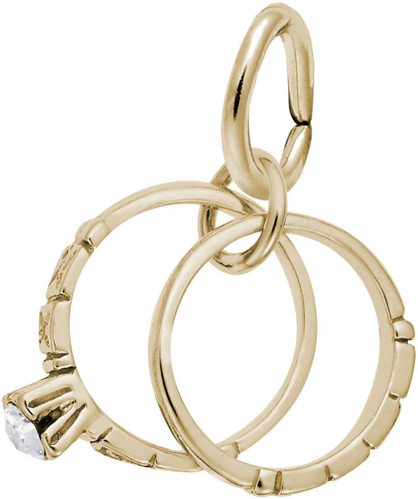 Wedding Rings Charm w/ White Synthetic Crystal (Choose Metal) by Rembrandt