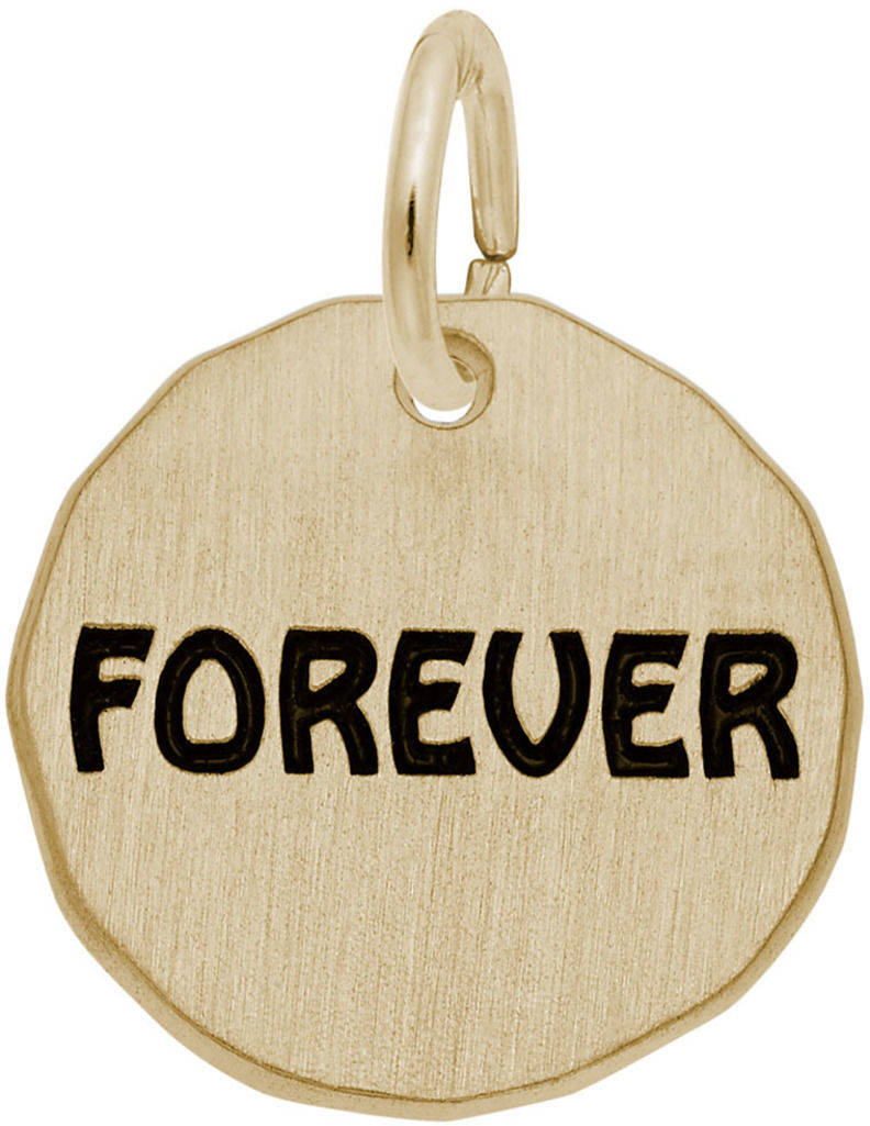 Black Enamel Forever Charm Tag Charm (Choose Metal) by Rembrandt