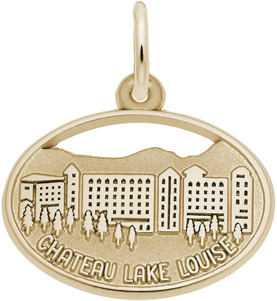 Chateau Lake Louise Oval Charm (Choose Metal) by Rembrandt