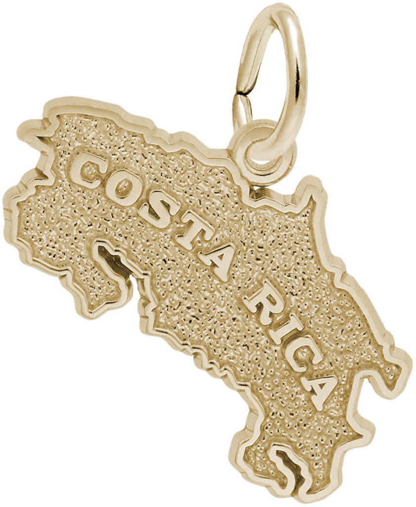 Costa Rica Map Charm (Choose Metal) by Rembrandt