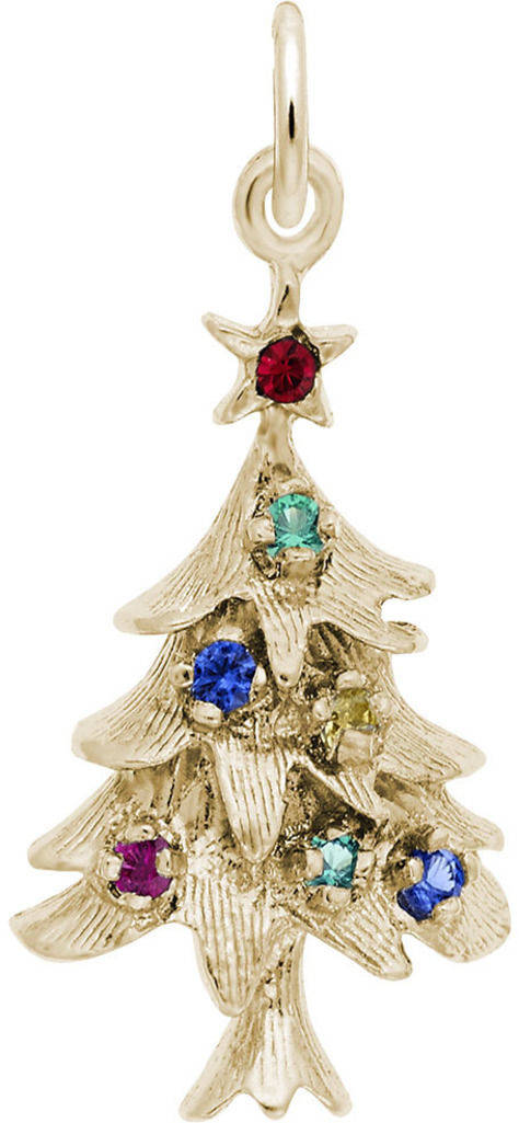 Christmas Tree Charm w/ Multicolor Beads (Choose Metal) by Rembrandt
