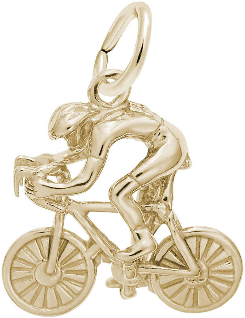 Racing Cyclist Charm (Choose Metal) by Rembrandt