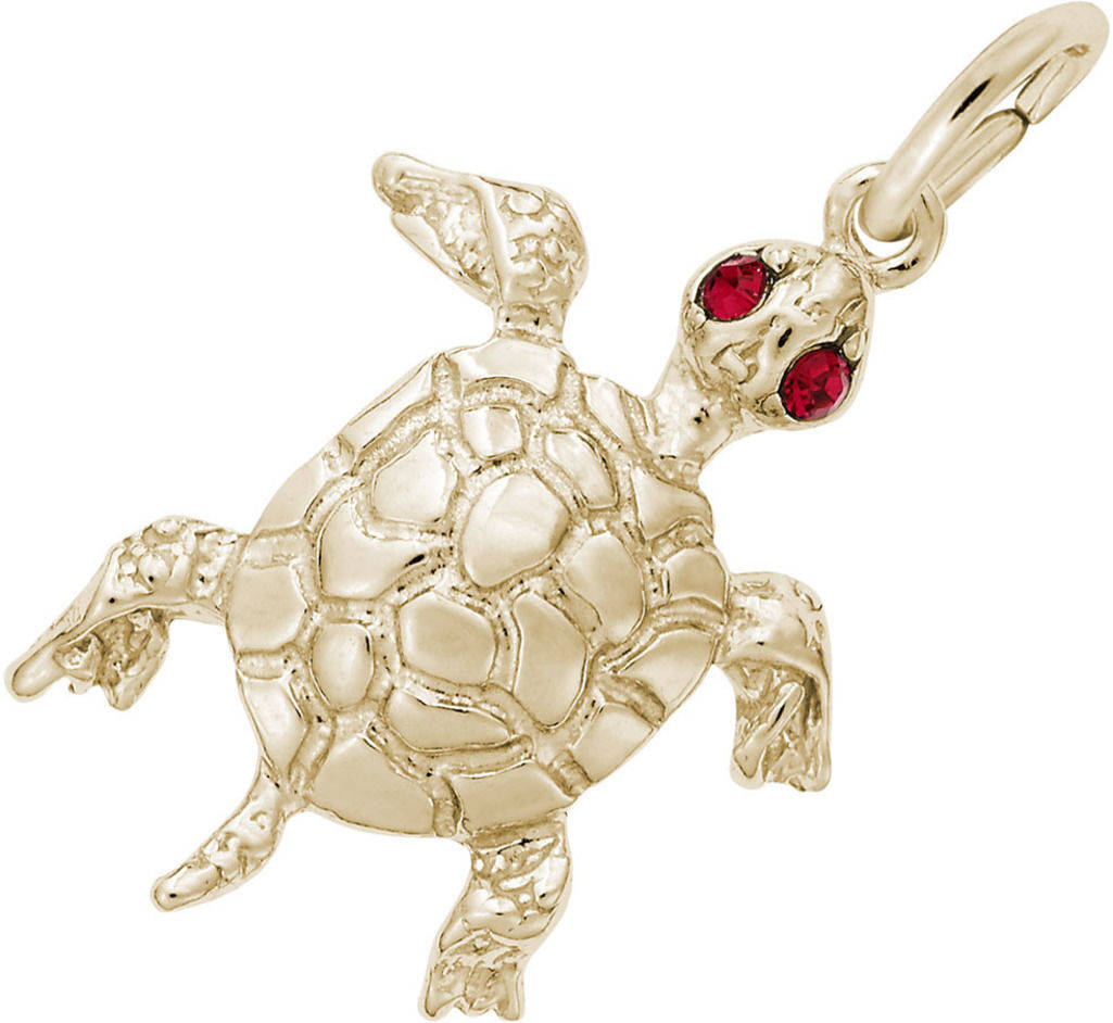 Turtle w/ Purple Synthetic Crystals Charm (Choose Metal) by Rembrandt