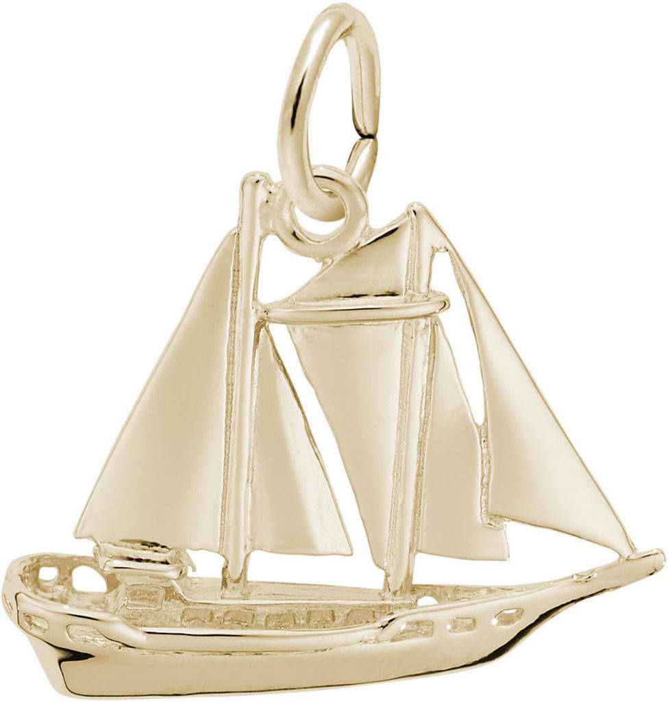 Schooner Sailboat Charm (Choose Metal) by Rembrandt