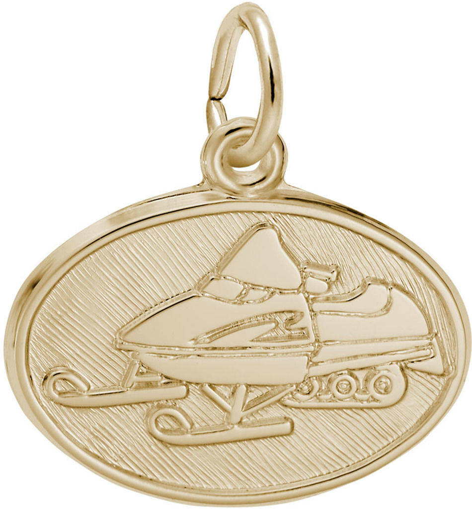 Snowmobile Oval Charm (Choose Metal) by Rembrandt