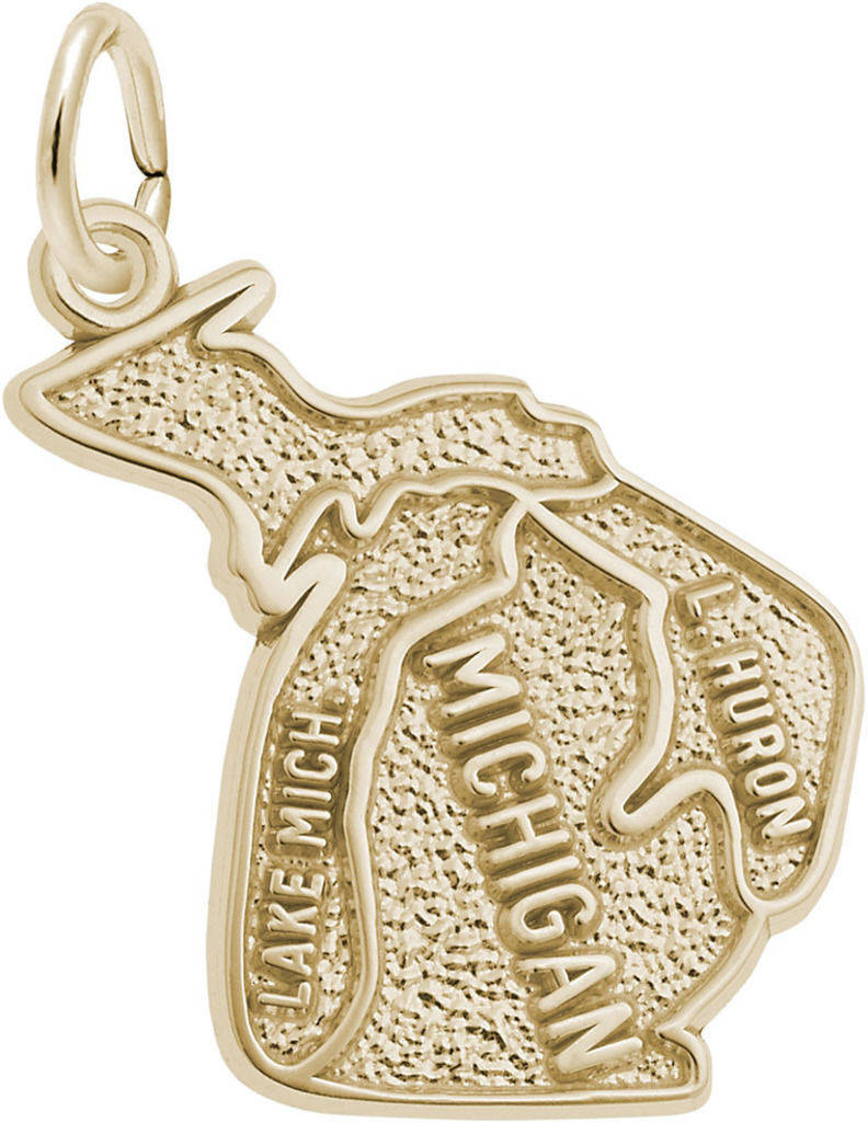 Michigan Map Charm (Choose Metal) by Rembrandt