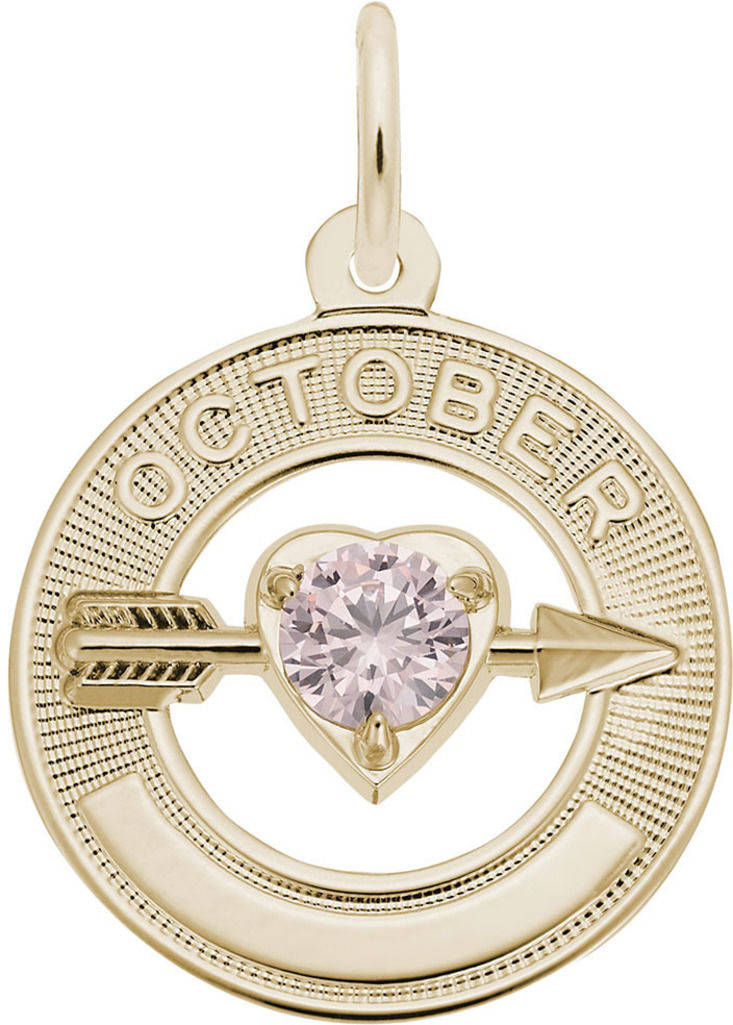 Synthetic Crystal Simulated Birthstone Charms Collection - October (Choose Metal) by Rembrandt