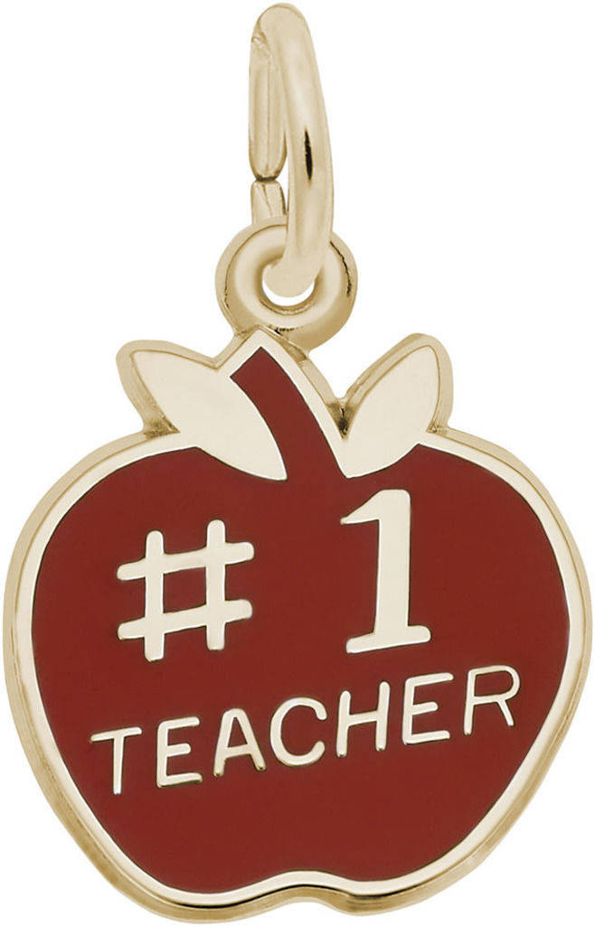 Red Enamel #1 Teacher Charm (Choose Metal) by Rembrandt
