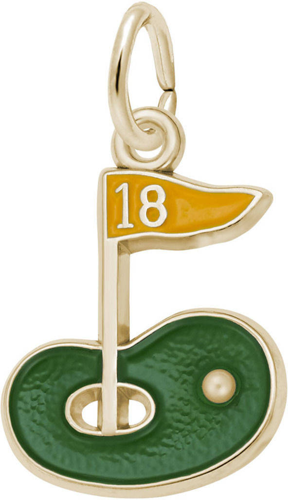 Golf Green & Yellow Enamel Charm (Choose Metal) by Rembrandt