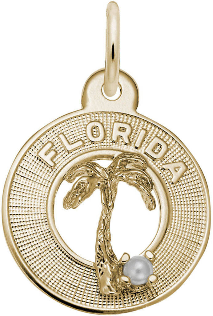 Small Florida Palm Tree Ring Charm w/ Simulated Pearl (Choose Metal) by Rembrandt