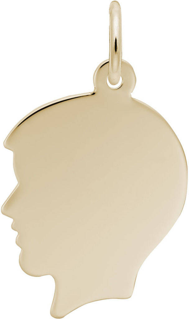 Flat Boys Head Charm (Choose Metal) by Rembrandt