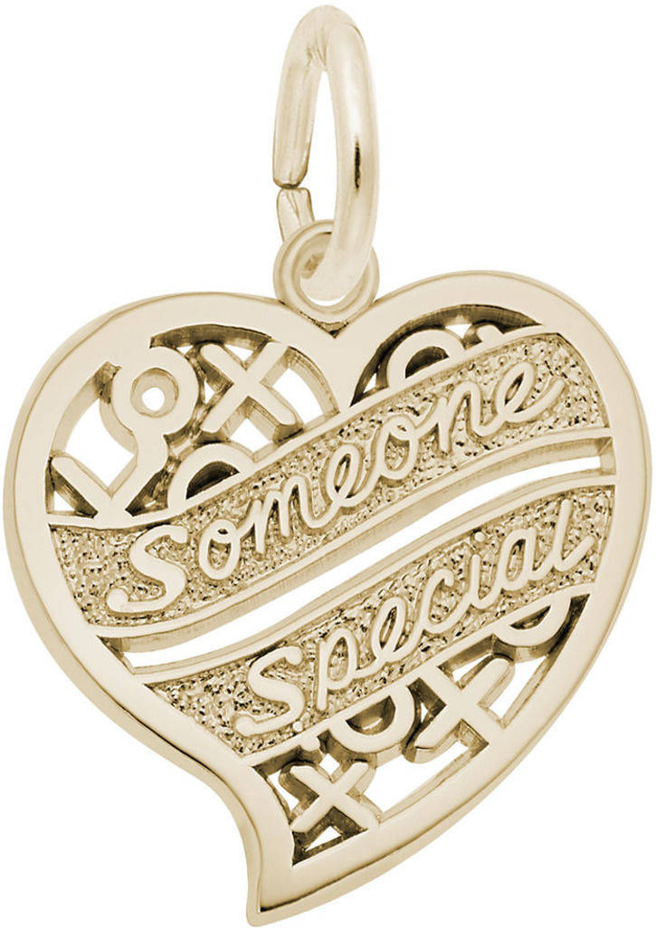 Someone Special Hugs & Kisses Heart Charm (Choose Metal) by Rembrandt
