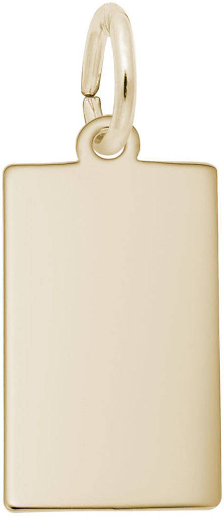 Small Rectangle Dog Tag Charm (Choose Metal) by Rembrandt