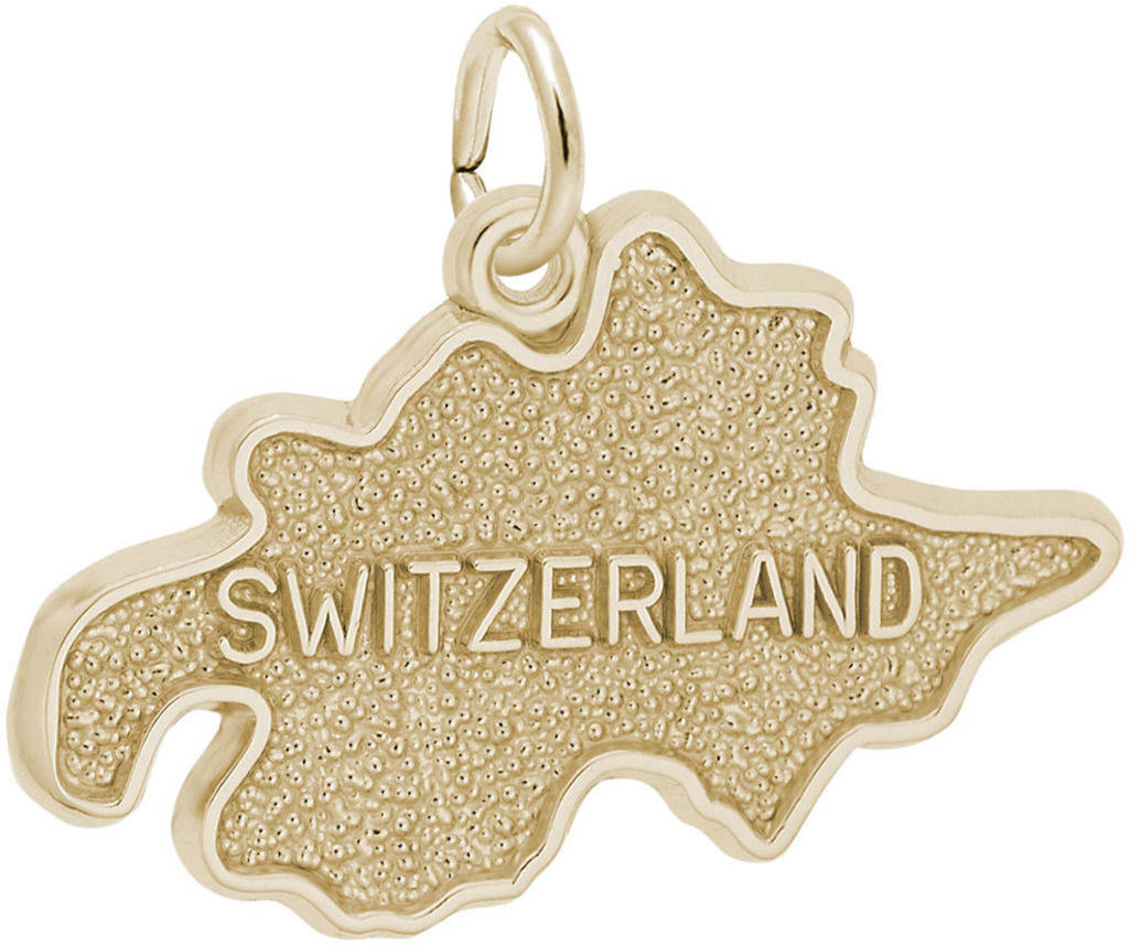 Switzerland Map Charm (Choose Metal) by Rembrandt