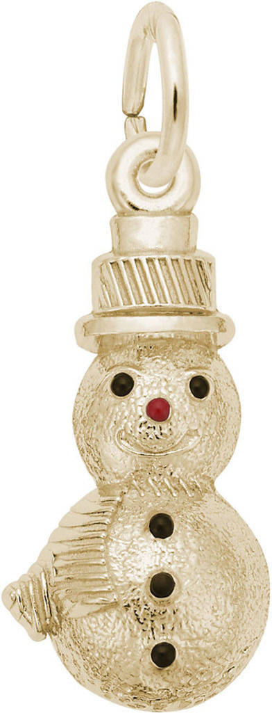 Black & Red Enamel Snowman Charm (Choose Metal) by Rembrandt