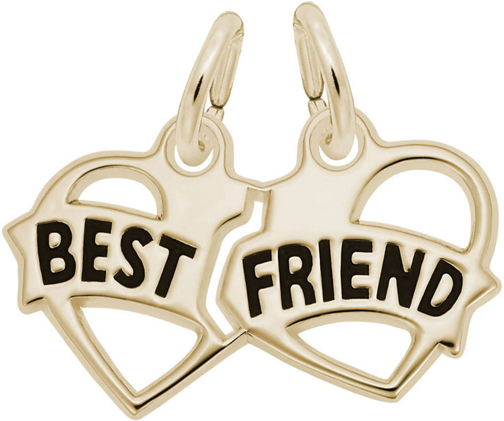 Black Enamel Best Friends Charm (Choose Metal) by Rembrandt