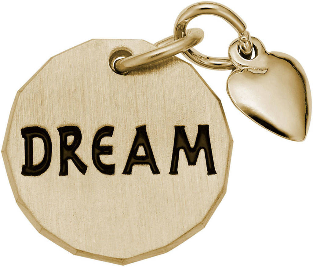 Dream Tag w/ Heart Charm (Choose Metal) by Rembrandt